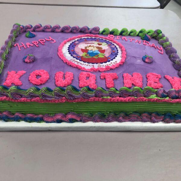 Purple, Pink & Green Girl's Birthday Cake: Happy Birthday Kourtney