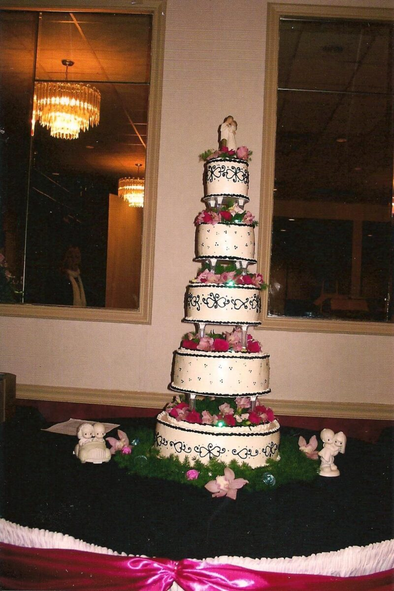 Black & White Frosted 5 Tier Wedding Cake with Pink Flowers