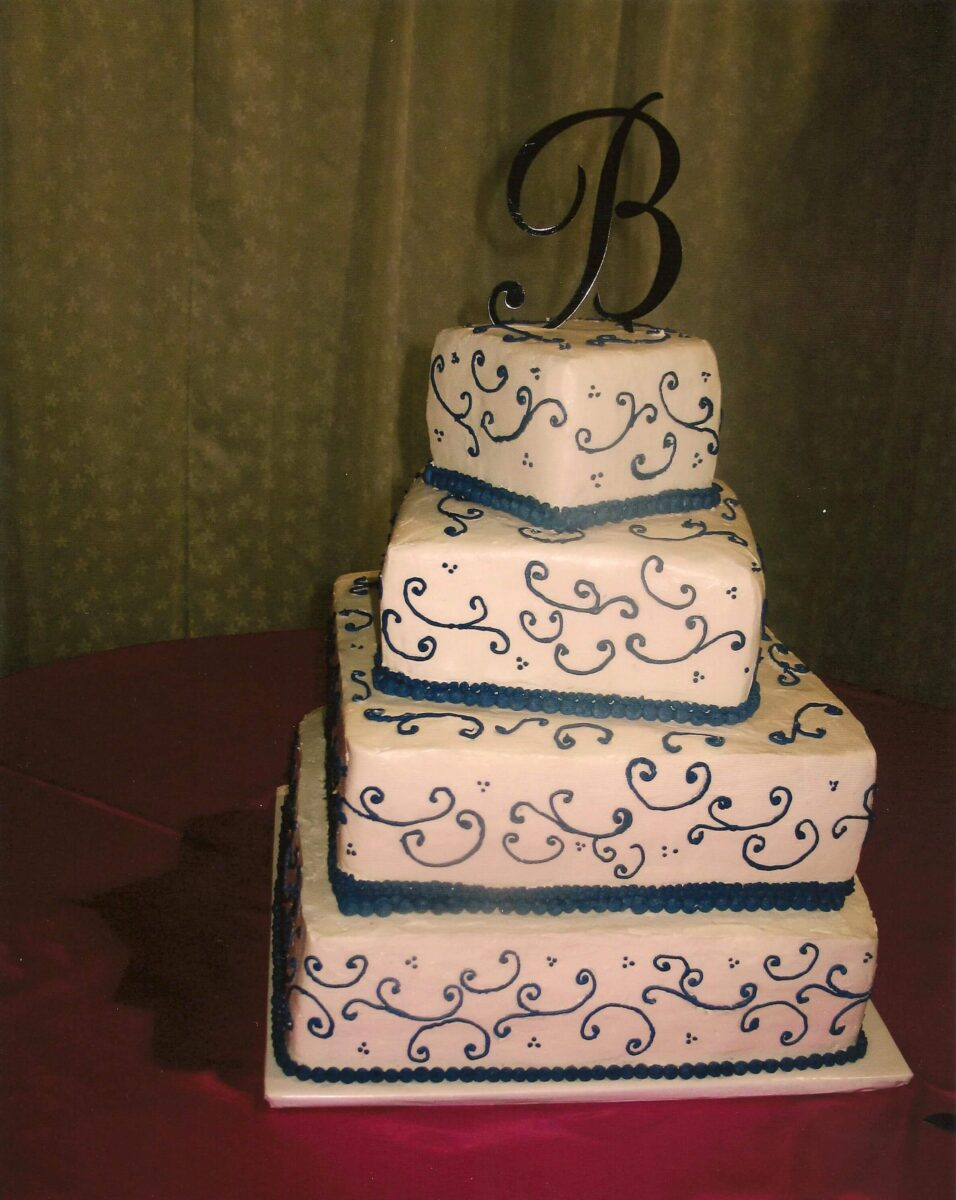 Black & White Frosted 4 Titled Tier Wedding Cake