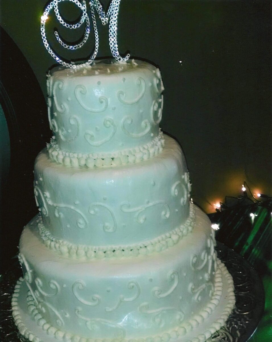 White Frosted 3 Tier Wedding Cake