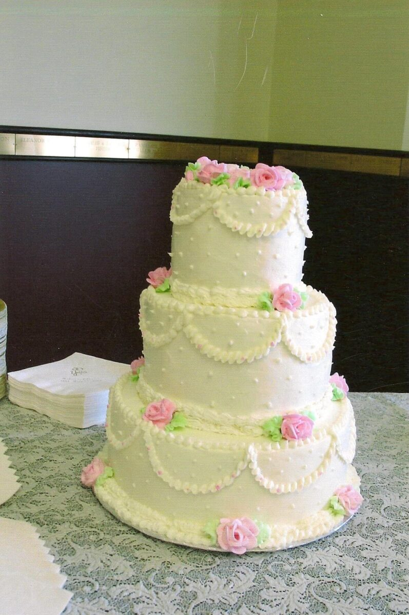 Green, Pink, & White Frosted 3 Tier Wedding Cake