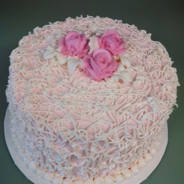 Pink and White 1 Tier Cake