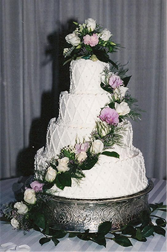 4 Tier Wedding Cake with Pink Accents