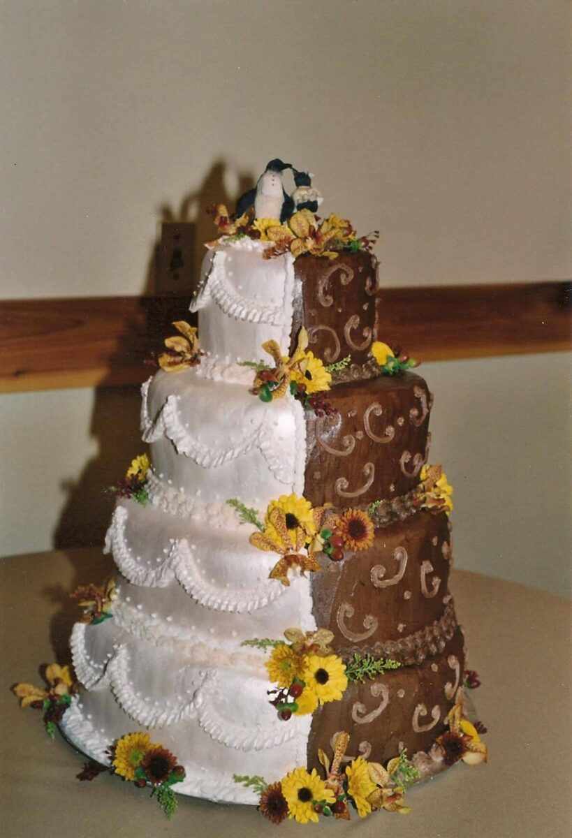 Split Cake 4 Tier Wedding Cake with Half White and Half Brown